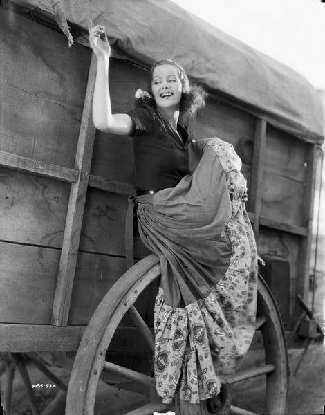 Greta Garbo Posed in Wagon Premium Art Print
