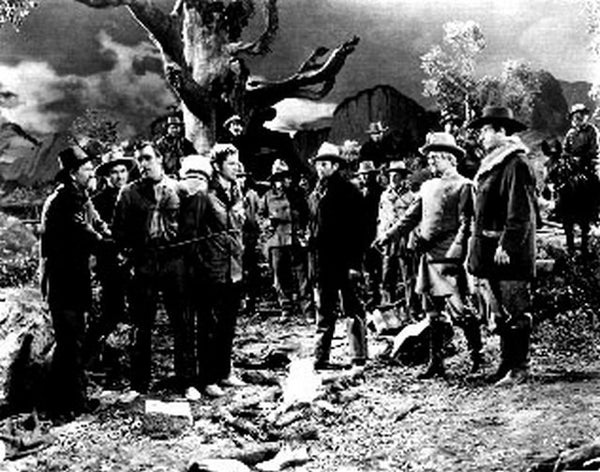 Ox-Bow Incident Tied Up Scene in Black and White Premium Art Print