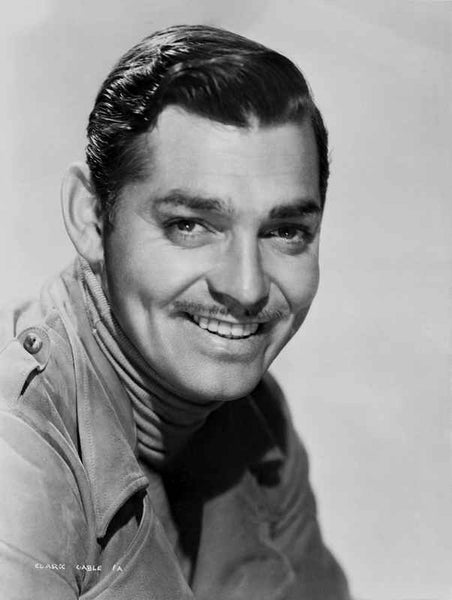 Clark Gable Portrait With Moustache Classic Movie smiling Pose  Premium Art Print High ...