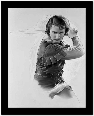 Errol Flynn in a Fighting Pose High Quality Photo