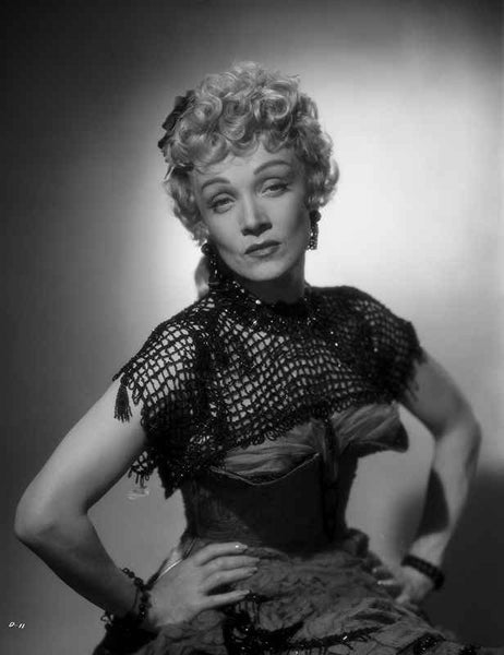 Marlene Dietrich Posed in Black Dress with Hands on Waist Premium Art Print
