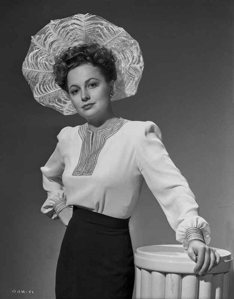 Olivia DeHavilland Posed in Long Sleeve Blouse Premium Art Print