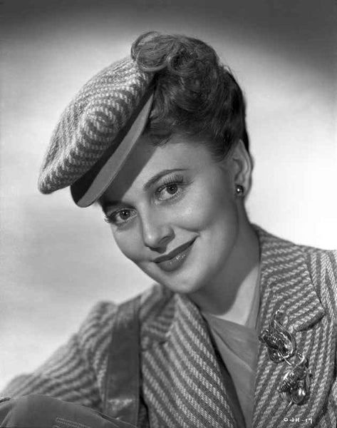 Olivia DeHavilland smiling in Stripes Blazer Premium Art Print