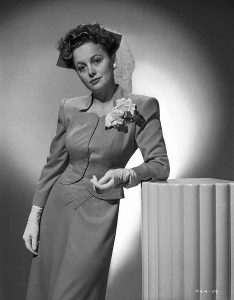 Olivia DeHavilland Posed in Dress with Corsage Premium Art Print