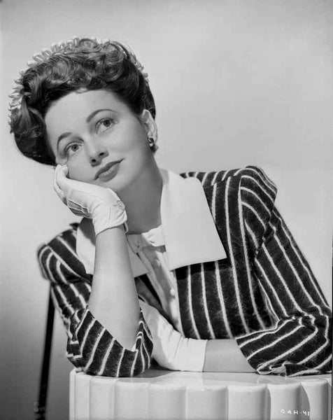Olivia DeHavilland Leaning Chin on Hand with Stripes Blazer Premium Art Print