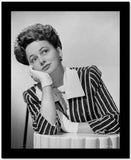 Olivia DeHavilland Leaning Chin on Hand with Stripes Blazer High Quality Photo