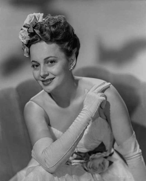 Olivia DeHavilland Seated in Gown with Gloves Premium Art Print