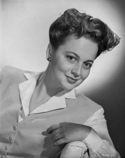 Olivia DeHavilland Portrait in Classic Blouse Premium Art Print