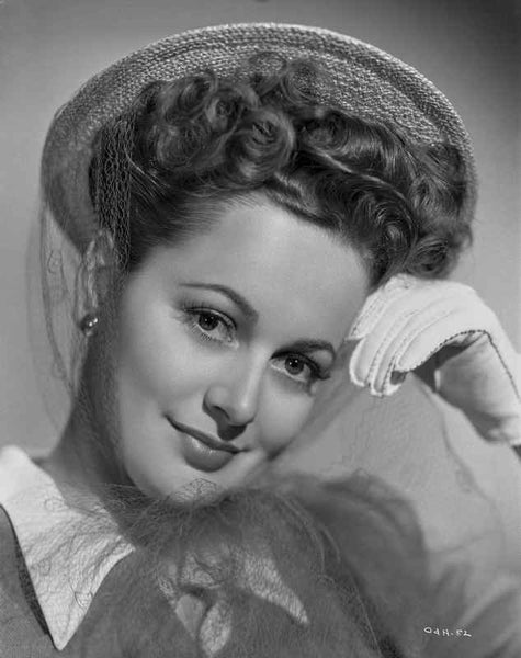 Olivia DeHavilland Portrait in Formal Top with Earrings and Gloves Premium Art Print
