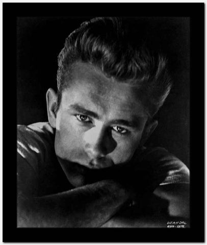 James Dean Portrait in White Round Neck Shirt and Arms Crossed with Eyes Looking Straight High Quality Photo