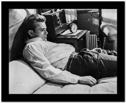 James Dean on the Bed in White Silk Collar Shirt and Black Pants with Arms Rest on the Side High Quality Photo