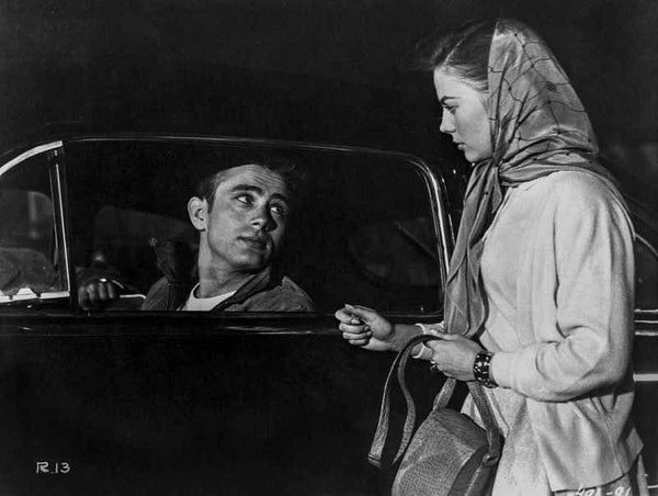 James Dean Scene from a Film Drove on a Black Car in Black Velvet Jacket while Talking to a Woman in White Dress Premium Art Print