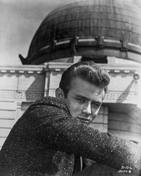 James Dean Portrait in Black Sequin Suit with Arms on the Knees and Head Turn to Right Premium Art Print