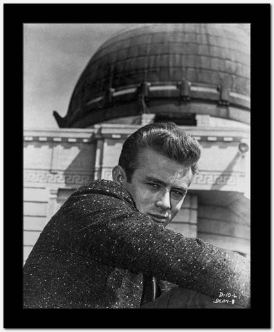 James Dean Portrait in Black Sequin Suit with Arms on the Knees and Head Turn to Right High Quality Photo