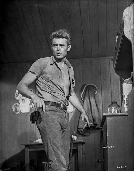 James Dean Posed in Grey Tucked-On Short Sleeve Shirt and Belted Pants with Head Turn to the Right Premium Art Print
