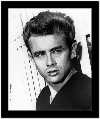 James Dean Portrait in Black V-Neck Cotton Shirt with Eyes Looking to the Left High Quality Photo