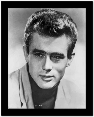 James Dean Portrait in White Linen Shirt and Black Turtle Neck Shirt with Head Turn to Right High Quality Photo