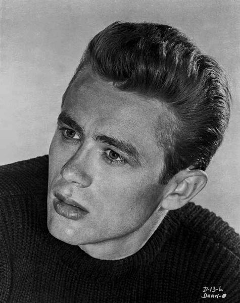 James Dean Portrait in Black Velvet Round Neck Long Sleeve Shirt Premium Art Print