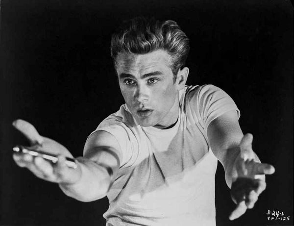 James Dean Posed in Whit Short Sleeve Round Neck T-Shirt with Arms Raised Up with Hands Open Premium Art Print
