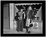 Dead End Kids Scene Outside a Store in Black and White High Quality Photo