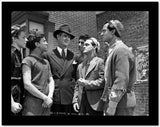Dead End Kids Scene with Five Guys Talking a Man in a Formal Dress High Quality Photo
