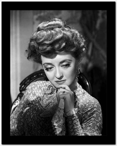 Bette Davis Portrait Hand on the Chin in Long Sleeve Silk Dress with Top Knot Hair High Quality Photo