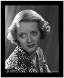 Bette Davis Portrait Looking Slightly Up in Short Curls and Two Printed Long Sleeves High Quality Photo