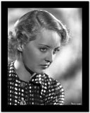 Bette Davis Portrait in Looking Slightly Down in Marcel Wave and Polka Dot Black Shirt High Quality Photo