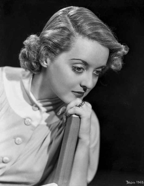 Bette Davis Portrait Holding an Object in White Shirt and Finger Wave Hairstyle Premium Art Print