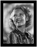 Bette Davis Portrait smiling and Looking Up In Polka Dot Black Dress with Short Curls High Quality Photo