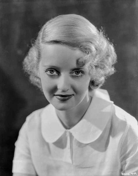 Bette Davis Portrait in White Sleeved Dress with Marcel Wave Hairstyle Premium Art Print