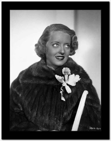 Bette Davis Portrait Eyes Looking Up in Black Fur Coat and White Corsage High Quality Photo