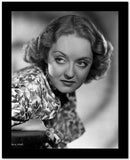 Bette Davis Portrait in Looking at the Right in Floral Silk Shirt with Curly Waved Hairstyle High Quality Photo