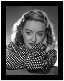 Bette Davis Portrait with Arms Crossed Through the Head with Hand on the Cheek in White Polka Dot Black Long Sleeve Shirt High Quality Photo