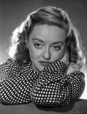 Bette Davis Portrait with Arms Crossed Through the Head with Hand on the Cheek in White Polka Dot Black Long Sleeve Shirt Premium Art Print