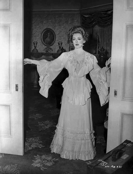 Bette Davis Posed in White Long Sleeve Ruffled Long Dress Premium Art Print