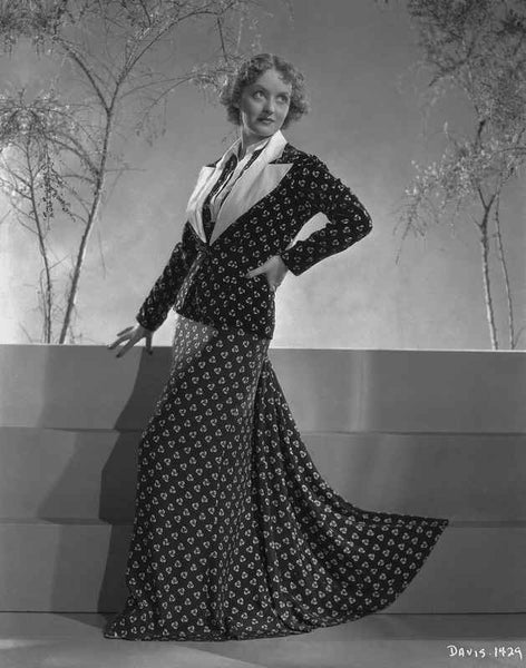 Bette Davis Posed with Hand on the Waist in Black Polka Dot Long Sleeve Dress with White Collar Premium Art Print