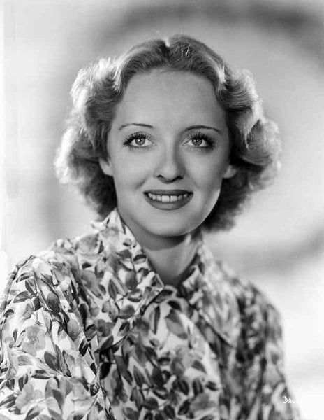 Bette Davis Portrait smiling in Floral White Dress and Neckerchief Premium Art Print
