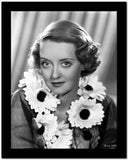 Bette Davis Portrait smiling in Sunflower Garland with Black Linen Long Sleeve Dress High Quality Photo