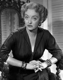 Bette Davis Portrait Hand Together Elbows Forward in Black Long Sleeve Dress Premium Art Print