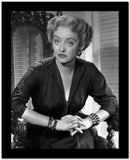 Bette Davis Portrait Hand Together Elbows Forward in Black Long Sleeve Dress High Quality Photo