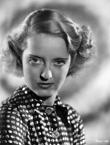 Bette Davis Portrait Serious Look with Curled Hair in Polka Dot Black Shirt Premium Art Print
