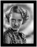 Bette Davis Portrait Serious Look with Curled Hair in Polka Dot Black Shirt High Quality Photo