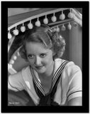 Bette Davis Portrait Seated in White Short Sleeve Sailor Uniform with Black Scarf Tied Loose High Quality Photo