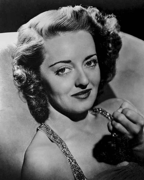 Bette Davis Portrait smiling with Closed Fist in Glittered Strap Dress with Marcel Wave Hair Premium Art Print