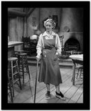 Bette Davis Posed with Hand on the Pocket and Walking Stick in White Long Sleeve Shirt and Apron High Quality Photo