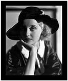 Bette Davis Portrait Chin Leaning on Hand in Black Hat and White Collar Velvet Dress High Quality Photo