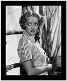 Bette Davis Posed Looking Up to the Right with Hands on the Tummy in Striped Short Sleeve Collar Shirt High Quality Photo