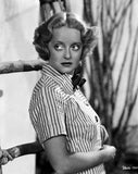 Bette Davis Posed Looking Up to the Right with Hands on the Tummy in Striped Short Sleeve Collar Shirt Premium Art Print