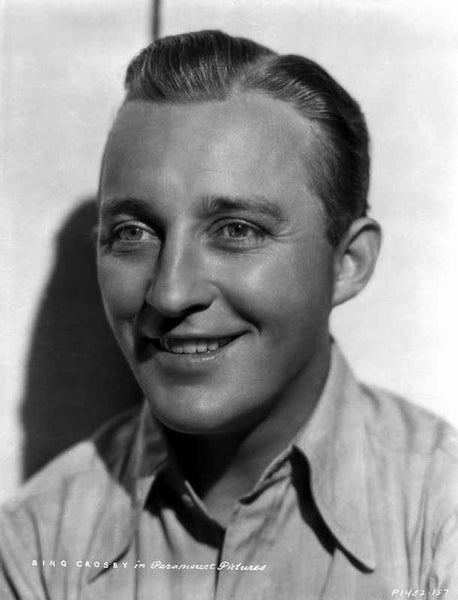 Bing Crosby smiling in White Polo Close Up Portrait with White Background Premium Art Print